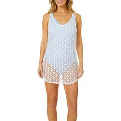 Miken Womens Crochet Racerback Tank Dress Swim Cover Up