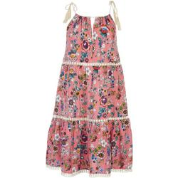 Womens Tiered Floral Keyhole Swim Cover-Up