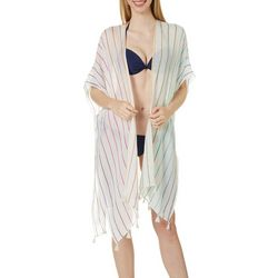 Juniors Rainbow Stripe Print Kimono Swim Cover-Up