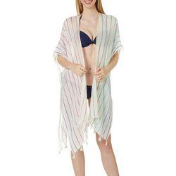 Juniors Rainbow Stripe Print Kimono Swim Cover-Up
