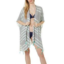 Juniors Stripe Print Pom Pom Kimono Swim Cover-Up