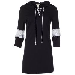 Paradise Bay Womens Hooded Crochet Detail Tunic Cover-Up