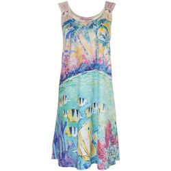 Womens Fish & Palm Tree Ring Dress