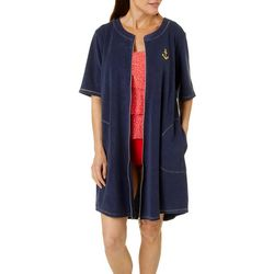 Paradise Bay Womens Golden Anchor French Terry Zip Cover-Up