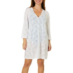 Paradise Bay Womens Pineapple Burnout Hooded Tunic Cover-Up