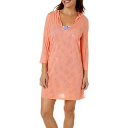 Paradise Bay Womens 3/4 Sleeve Hooded Dress Cover-Up