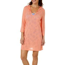 Womens 3/4 Sleeve Hooded Dress Cover-Up
