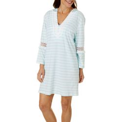 Paradise Bay Womens 3/4 Sleeve Crochet Hooded Cover-Up