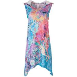 Womens Marbled Seahorse Hooded Cover Up