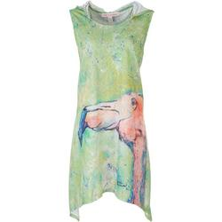 Womens Flamingo Hooded Cover Up