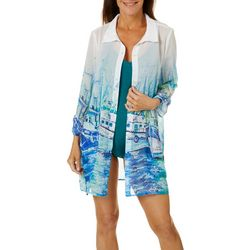 Leoma Lovegrove Womens Moody Blues Shirt Cover-Up