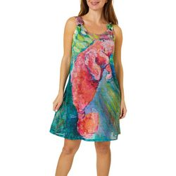 Leoma Lovegrove Womens Pink Manatee O-Ring Tank Cover-Up