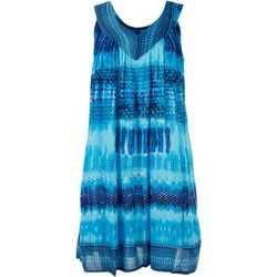Studio West Womens Tie-Dye Contrast Sleeveless Dress