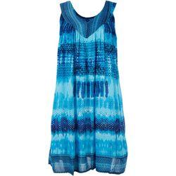 Studio West Womens Tie-Dye Contrast Sleeveless Dress