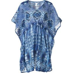 Maris & Sol Womens Diamond Printed Short Sleeve Cover Up