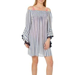 Studio West Womens Off the Shoulder Tassel Cover-Up