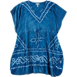 Womens Batik Short Sleeve Cover Up