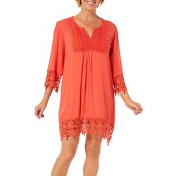 Studio West Womens Solid Crochet Trim Swim Cover-Up