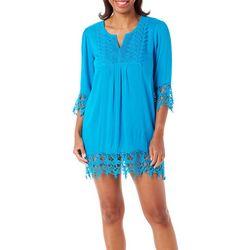 Womens Solid Crochet Tunic Swim Cover-Up