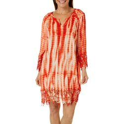 Womens Tie Dye Crochet Accent Swim Cover-Up