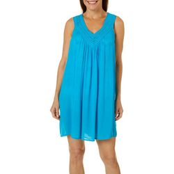 Womens Solid Crochet Neck Swim Cover-Up