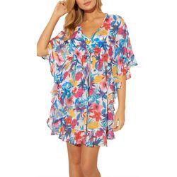 Bleu Rod Beattie Womens Floral Tie Swim Cover-Up