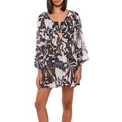 Womens Tropical Floral Plunge Dress Cover Up