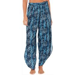 Womens Sheer Paisley Side Slit Pant Cover-Up