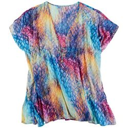 Into The Bleu Womens Colorful Snake Print Tunic Cover-Up