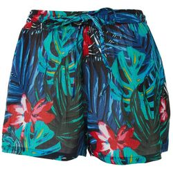 Rise & Bloom Womens Jungle Print Drawstring Fabric Shorts