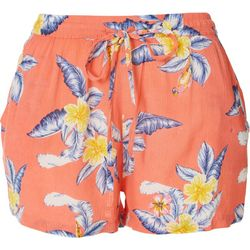 Rise & Bloom Womens Tropical Drawstring Fabric Shorts