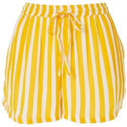 Rise & Bloom Womens Bengal Striped Drawstring Fabric Shorts
