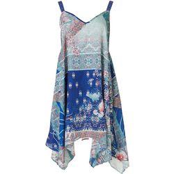 Rise & Bloom Womens Pattern Block Slip Dress