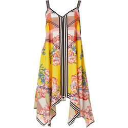 Rise & Bloom Womens Floral Plaid Slip Dress