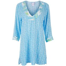 Stella Parker Womens Tropical Tunic Swim Cover Up