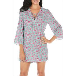 Womens Sheer  Shell Print Tunic Swim Cover-Up