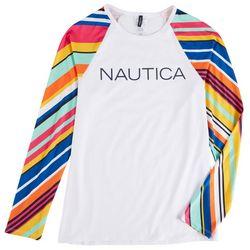 Nautica Womens Colorful Striped Sleeves Rashguard Swim Top