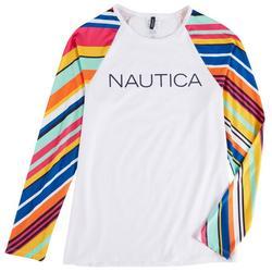 Womens Colorful Striped Sleeves Rashguard Swim Top