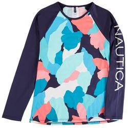 Womens Colorful Camo Colorblock Rashguard Swim Top