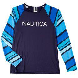 Nautica Womens Cool Tone Striped Sleeves Rashguard Swim Top