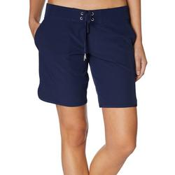 Womens Solid Lace Up 7 Swim Shorts