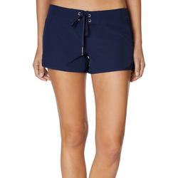 Womens Solid Lace Up Swim Shorts