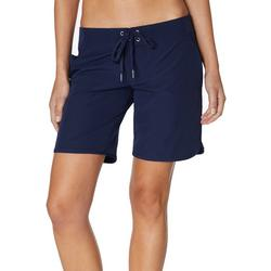 Womens Solid Lace Up 9 Board Shorts