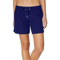 Nautica Womens Solid Lace Up 4.5 Swim Shorts