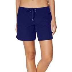 Womens Solid Lace Up 4.5 Swim Shorts