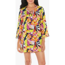 Caribbean Joe Womens Sheer Bold Floral Tunic Swim