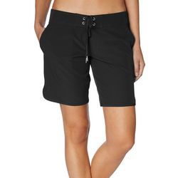 Nautica Womens Solid Lace Up Board Shorts