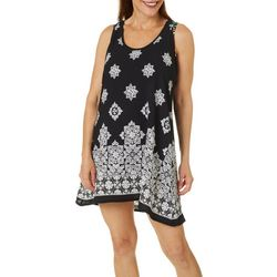 Pacific Beach Womens Mandala Print High Back Dress Cover-Up
