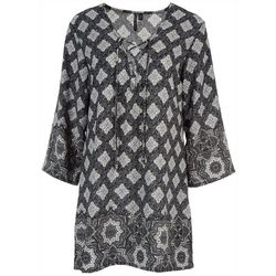 Pacific Beach Womens Laced Neck Medallion Swim Cover-Up