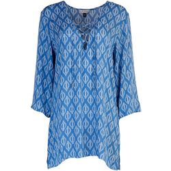 J Valdi Womens Tunic Tie Top